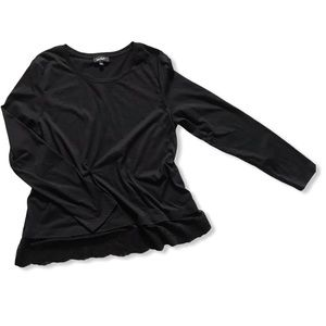 Lord & Taylor Black Long Sleeve with Lace Trim